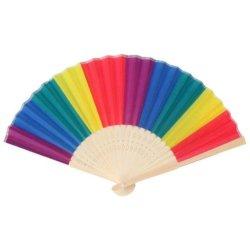 Plegado de seda, Rainbow abanicos de mano de Bambú El diseño de ventiladores para cumpleaños, graduaciones, bodas, vacaciones
