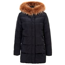 Tanboer abajo de la mujer capucha Collar de piel Chaquetas Chaquetas de Invierno para las mujeres Abrigos abrigo ropa de marca