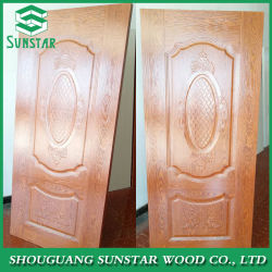 Le teck/Okoume/cendres/noyer/Oak/hêtre naturel Sapeli/Birch/placage de bois stratifié gaufré de nouvelle conception de la mélamine HDF moulé de la peau de porte
