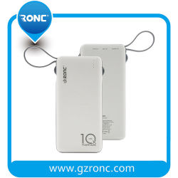 Los bancos de alimentación USB Dual 10000mAh carga rápida Banco de potencia con Micro USB Tipo C Rayo 3-en-1 cable