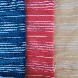 Tessuto tinto di tela molle del filo di cotone della bella banda di tre colori