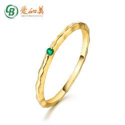 Anello giallo oro solido 14K anello smeraldo naturale per donne Regalo