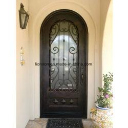 Prix de gros ornementaux de portes d'entrée simple de fer pour la Chambre