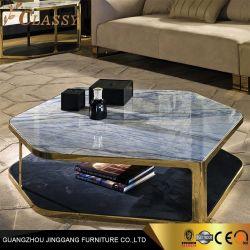Moderno de Luxo Superior em mármore mesa de café com Metal armação de aço inoxidável 2 camadas