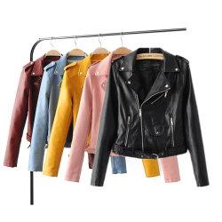 أحدث السلع الحديثة الطفو جودة جيدة الخريف خريف الخريف Biker Zip الستر الجلدية للسيدات