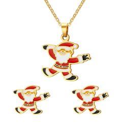 Santa Claus émail colorés bijoux Set pour les cadeaux de Noël (necklace + earring)