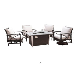 Leisuretouch Garden Resin Wicker Table과 의자 가구 Gas Cookeware Rattan Fire Pit