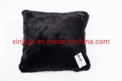 Luxaryの固体黒く明白なのどの毛皮は置くのどの毛皮のクッション(019-167)を