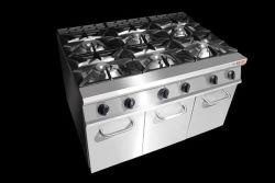 De commerciële Apparatuur van de Keuken van het Kooktoestel van de Waaier van het Gas van 4 Branders Kokende met de Elektrische Oven van het Gas