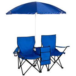 Адаптированные для использования вне помещений складная две двойные сиденья 2 человек с кемпинг зонтик охладителя