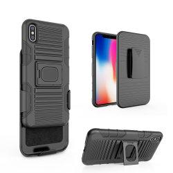 Met rubber bekleede 3 in 1 Geval van het Holster van de Klem van de Riem van het Pantser van PC TPU Hybride voor iPhone X Xr Xs Maximum 2019