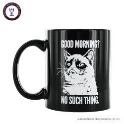 11oz plena taza de café negro brillante con impresión personalizada