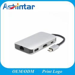 Portable 8 en 1 Suministro de energía de tipo C Hub USB de PC.