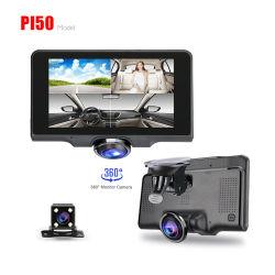 360 gradi Dash Cam panoramica grandangolare Vista auto DVR Registratore con monitor di parcheggio da 24 ore