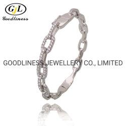 Moda banhado ródio 925 Sterling Silver CZ jóias pulseiras Bangle Link (G41435)