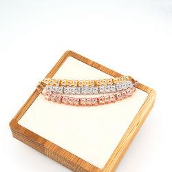 El zircón cuadrado rosa Pulsera de plata conjunto Oro Material de cobre de color dorado para las mujeres