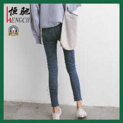 Mulheres aumento médio Jeans Denim angustiados Skinny Jeans Esticar Slim Fit Pants Garment