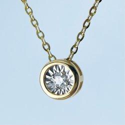 Solid Gold 18K Gold Necklace Collar de diamantes joyería fina