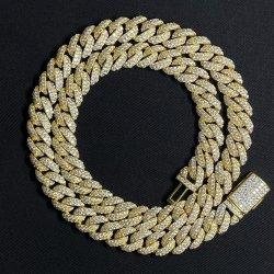 Hq Gems S925 20 pouces de slivoïde 10mm PLAQUÉS DIAMANT glacé lien cubain Moissanite colliers de la chaîne en or jaune