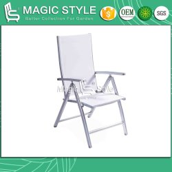 Piscina Jardim cadeira dobrável linga têxtil Cadeira Desdobrável Cadeira de jantar de alumínio Cadeira de jantar de pintura por pó Vendas Cadeira de refeições quentes