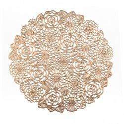 En stock Nouveau Design Rose fleur forme ronde vinyle pressé Napperon métallique pour décoration de mariage usage quotidien