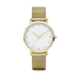 Le logo OEM Boîtier en acier inoxydable Retour Custom Watch face à la sangle de maillage Diamond Mesdames Watch