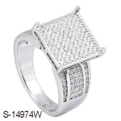 Modeschmuck Micro-Pave-Setting Rhodium 925 Silver Ring.