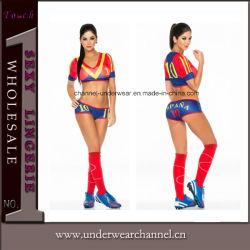 Costume europeo sexy adulto della Jersey della ragazza pon pon di gioco del calcio della tazza di Cosplay (TLQZ7065)