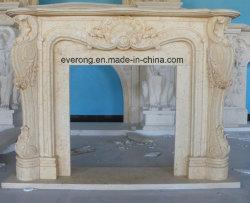 Europa baratos antigua escultura tallada en piedra blanca/chimenea de mármol beige