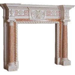 Camino di marmo bianco della pietra/calcare/travertino con la buona scultura