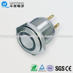 16mm 1aucun anneau plat effaçable allumé IP65 IK08 Interrupteur à bouton poussoir