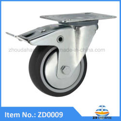 TPR PP Roulette industrielle en caoutchouc Meubles lit chaise de roue du Cabinet de la roulette pivotante avec frein Heavy Duty
