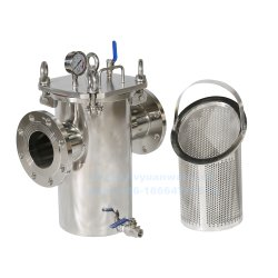 High Flow industriële flens/bout Quick Open pijpleiding roestvrijstalen mand Zeef met filterbak met draadgaas