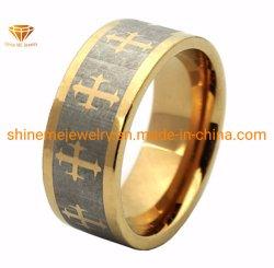 جسم المجوهرات حلقة ليزر تنجستين عالية الجودة للطلاء الذهبي (TSTG006)