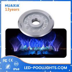Protección IP68 36W 316 acero inoxidable de LED RGB DMX bajo el agua de la luz de la fuente con boquilla Ring