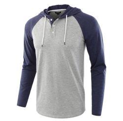 camicia del maglione di Hoody di modo degli uomini di stile del tasto del manicotto di Raglan dello Spandex del cotone 230GSM