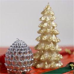 عيد ميلاد المسيح عمود شمعة من حرفة شمعة مع تلألؤ