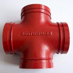 FM 화재 안전을%s 빨강 파란 홈이 있는 관 이음쇠가 또는 광산 또는 물뿌리개 또는 기술설계 또는 지하철 또는 수관 UL에 의하여 증명서를 준 던지는 연성이 있는 철 에폭시에 의하여 또는 그리거나 직류 전기를 통했다