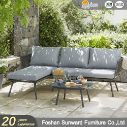 Sunward Venta caliente Ocio Hotel Garden Hotel Resort Villa de tejido de poliéster cuerdas al aire libre de proyecto sofá conjunto muebles