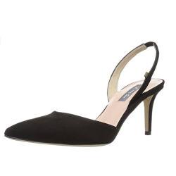 女性黒いカラーポンプかかとの靴黒のスエードの服党靴