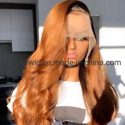 Ombre Farben-wellenförmige Perücke-Menschenhaar-Spitze-Vorderseite-Menschenhaar-Perücken für Frauen Remy brasilianische lange Haar-Natur-Wellen-Perücken 100% für Dame-Spitze-Vorderseite-Perücken