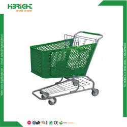 Dimensions en plastique de vente au détail panier Chariot de supermarché Super centre commercial de l'épicerie en plastique sur le marché Trolley
