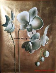 ホーム装飾的な金ホイルの蘭のグループの油絵セット