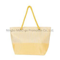2020 레이디 심플한 옐로우 핸드백 종이 그래스천 트래블 토트 비치 쇼핑 백 3피스 세트