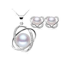 Serling Joyería de Plata Conjunto de perlas de agua dulce chapado en rodio
