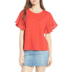 Flutter Embroidered Eyelet Sleeve Burnout Cotton Red 티셔츠