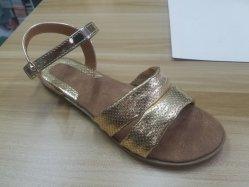女性の平らなかかとの服靴のサンダルの履物