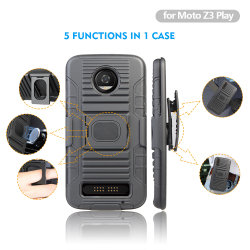 Motorola Z3 Play를 위한 2018 반지 Kickstand Belt Clip Holster Combo Mobile 또는 Cell Phone Case