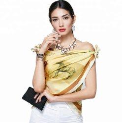 El diseñador de moda OEM del fabricante de la fábrica de sarga 100 Pañuelo de seda personalizado bufandas de seda de Impresión Digital de la mujer