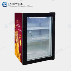 미니 카운터 탑 아이스크림 유리 도어 냉장 디스플레이 브랜드 홍보를 위한 맞춤형 그래픽(NW-SD98)